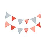 Small red and blue flags. Vector illustration of red and blue colored festive flags isolated on white Stock Images