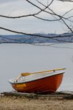 Small red boat Stock Photo