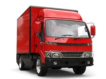 Small red box truck - closeup shot. Isolated on white background Royalty Free Stock Photography
