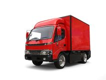 Small red box truck. Isolated on white background Stock Photography
