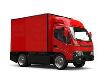 Small red box truck - studio shot. Isolated on white background Royalty Free Stock Photos
