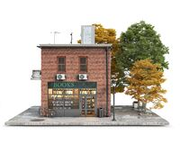 Free Small Red Brick Building With Book Store On A First Floor And Alley Near It Royalty Free Stock Photos - 189636318