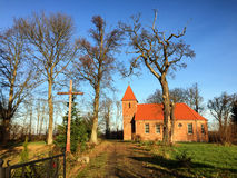 Small red brick village church in Boleszewo Poland Stock Photography