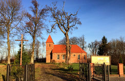 Small red brick village church in Boleszewo Poland Royalty Free Stock Photos