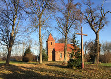 Small red brick village church in Boleszewo Poland Stock Photo