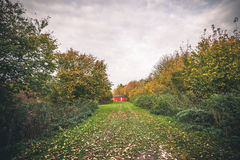 Small red cabin in a garden Royalty Free Stock Image