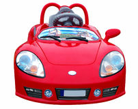 The Small  Red car. Nursery toy. Royalty Free Stock Image