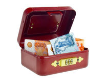 Small red cashbox. Royalty Free Stock Images