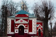 A small red church on the outskirts of Belarus. The Christian church is somewhere on the outskirts of the city of Mogilev. travel around Belarus Stock Photo