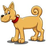 Small red dog with a red collar in a cartoon style royalty free illustration