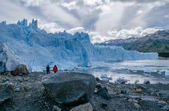 Small Red Dot In Perito Moreno, Argentina Stock Image