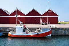 Small, red fishing boat Royalty Free Stock Photos