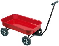 Small red four wheels handcart Royalty Free Stock Photos