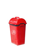 Small red garbage bin. With black garbage bag Stock Photo