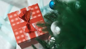 Small red gift box under the Christmas tree stock video footage