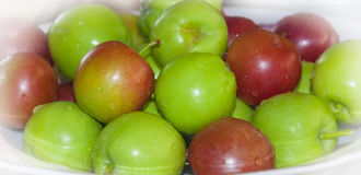 Small red and green apples. Red and green apples. Fruit closeup Stock Photo