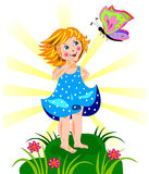 Beautiful little girl and butterfly Royalty Free Stock Photos