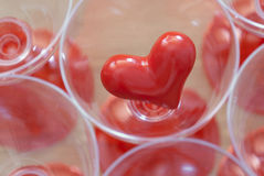 Small red heart in a glass Royalty Free Stock Photos