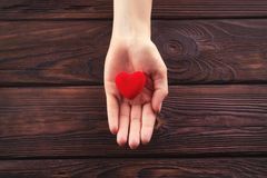 Small red heart in hand stock image