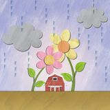 A small red house under flower on rainy day Royalty Free Stock Photos