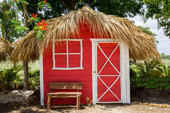 Free Small Red House With Palm Leaves Roof Royalty Free Stock Photo - 55332525