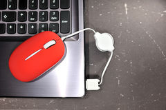 Small red mouse for notebook. Red mouse on the laptop palm Royalty Free Stock Photos
