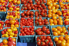 Small red orange and yellow tomatoes. Many pints of small orange and red tomatoes in pint containers for sale at an outdoor market Stock Photo