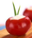 Small Red Pepper Filled with Sour Cream Stock Images