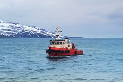 Small red pilot in Norwegian Sea Stock Photos