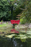 Small red pond bridge Royalty Free Stock Image