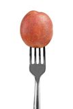 Small red potato on a fork isolated on white Royalty Free Stock Photo