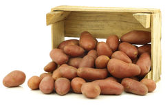 Small red potatoes in a wooden crate Royalty Free Stock Photos