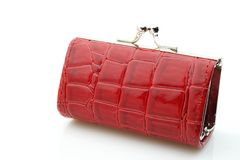 Red Leather Purse. Small red purse with shadow Royalty Free Stock Photo