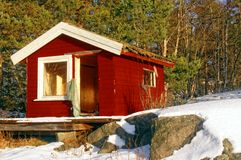 Small red ruined house for children to play Royalty Free Stock Images