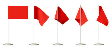Small red table flag set Royalty Free Stock Photography