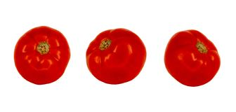 Small red tomatoes isolated on white. Without background. Some fruits of tomato, a design kit stock photo