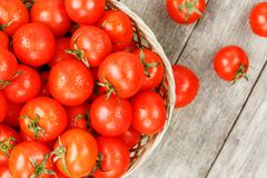 Small red tomatoes in a wicker basket on an old wooden table. Ripe and juicy cherry. And burlap cloth, Terevan style country style View from above royalty free stock photography