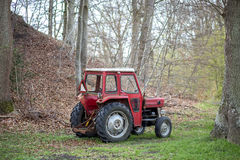Small red tractor Stock Photo