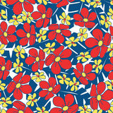 Small red tropical flowers seamless pattern Royalty Free Stock Photos