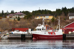 Small red and white fishing boat Royalty Free Stock Photos