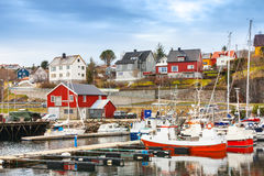 Small red and white fishing boats Stock Image