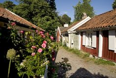 Small red and withe houses with pink roses royalty free stock images