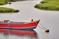 Small red boat royalty free stock photography