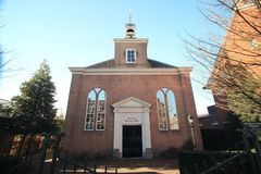 Small reformed church from 1726 in the center of Voorburg in the Netherlands. Small reformed church from 1726 in the center of Voorburg in the Netherlands royalty free stock images