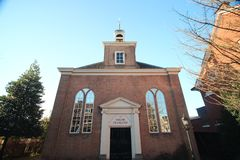 Small reformed church from 1726 in the center of Voorburg in the Netherlands. Small reformed church from 1726 in the center of Voorburg in the Netherlands stock photography