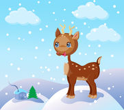 Small reindeer in the snow. Illustrated christmas winter scene with a cute cartoon reindeer standing on top of a snow-covered hill Stock Images