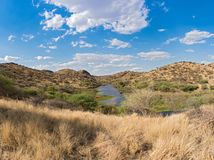 Small reservoir in the mountains in the north of Windhoek, Namibia.  stock images