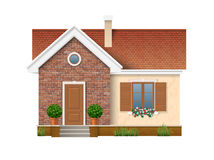 Small residential house with brick wall. And roof of red tiles. A window with shutters decorated with flowers petunias, which stand on the windowsill. Entrance royalty free illustration