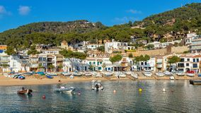 Small resort village Llafranc Costa Brava, Spain in wintertime.  royalty free stock photos