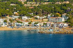 Small resort village Llafranc Costa Brava, Spain in wintertime.  Stock Photo